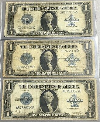 Lot Of (3) 1923 $1 Large Size Silver Certificates  E-78