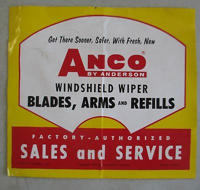 Unused Anco By Anderson Windshield Wiper Sales And Service Sticker Decal
