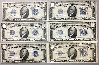 Lot Of (6) 1934 & 1934A  $10 Silver Certificates NICE E-88