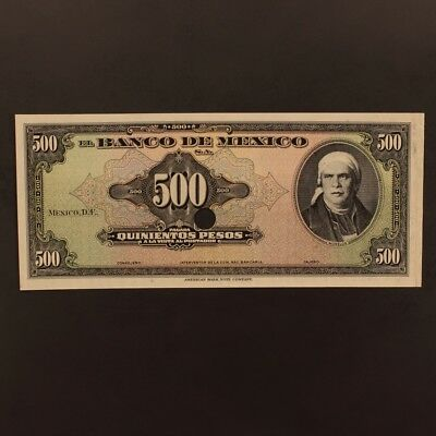 Mexico 500 Pesos ND(1948-78) P#51p Banknote EF - FACE PROOF