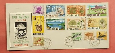 1964 Fdc Nyasaland Definitives Set To 1 Pound #123-34
