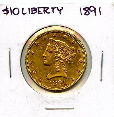 Impressive 1891 United States Liberty Head Eagle $10 Gold Coin EJ672
