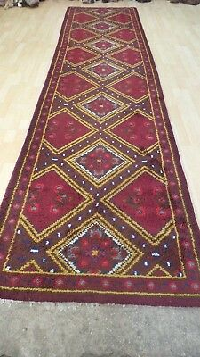 """HALL RUNNER CARPET RUG Hand Made Traditional Antique WOOL 12ft 11"""" x 3ft 3"""""""