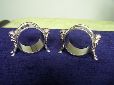 Pair of Vintage Silver Plated Cherub Napkin Rings