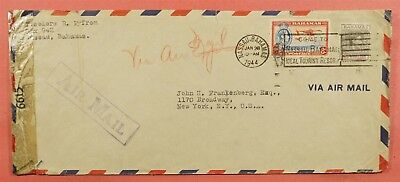 1944 Bahamas 1Sh Kgvi Franked Airmail To Usa Wwii Censored