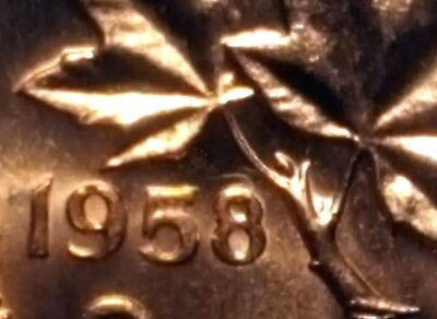Canada 1958 Small Cent *Hanging 8* BU Red UNC Penny!!