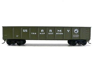 HO Scale Model Railroad Trains Layout US Army Gondola Car Military Rolling Stock