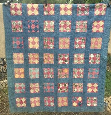 Antique mid 1800s Quilt ~ Indigo Blue Cranberry Red Mosaic Hand Qlt