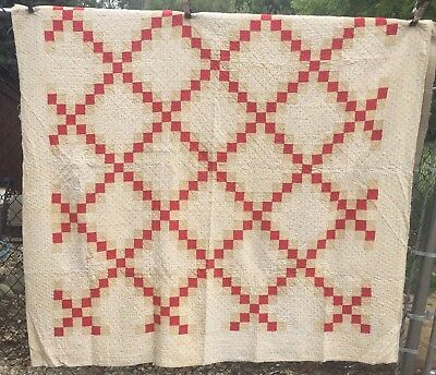 Antique 1880s Quilt ~ Fugitive Green & Turkey Red Irish Chain Hand Qlt