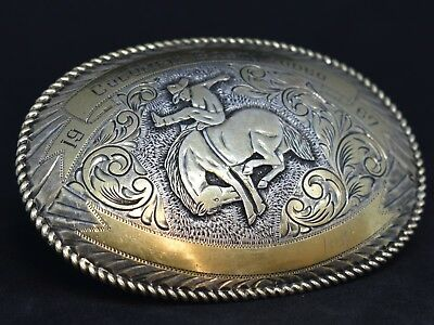 Crumrine Souvenir Buckle Sterling Columbia Basin Rodeo Gold-plated .925 Silver
