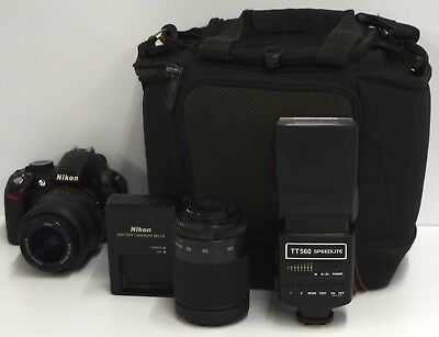 Nikon D D3100 14.2MP Digital SLR Camera Black Kit w/ AF-S DX VR 18-55mm Lens