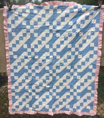 Antique Vintage 1930s Child's Quilt ~ Blue & White Jacob's Ladder Hand Qlt