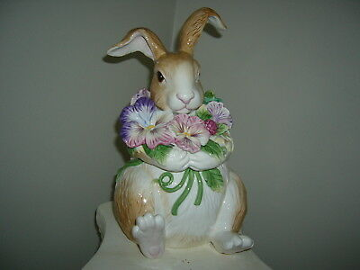 Fitz and Floyd Halcyon Bunny Rabbit Pansy Cookie Jar  in Box