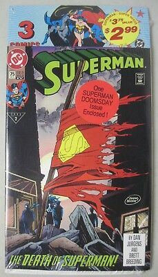 Sealed Dc Comics 3 Pack Superman #75 4Th Print Death Of Superman Doomsday Issue