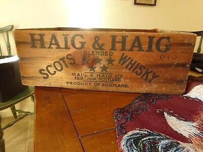Whiskey Crate Antique HAIG & HAIG SCOTS BLENDED WHISKEY Wooden Crate advertising