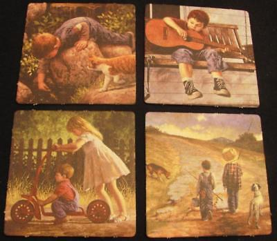 Vintage Country Drink Coasters- Bar Coasters -Norman Rockwell Look