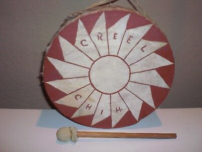 Native American Creel Chih Hoop Drum Double Sided Souvenior Chihauhua Mexico