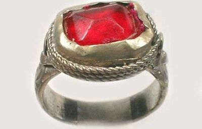 18thC Russian Ukrainian Crimean Tatars Silver Ring Ruby Red Glass Gemstone Sz 9½