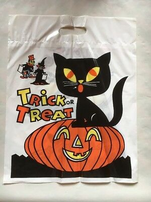 Vintage Halloween Black Cat Witch Trick Or Treat Plastic Bags N O S Lot Of 12