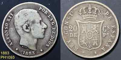 PHILIPPINES SPAIN 20 Centimos 1883 circulated silver coin