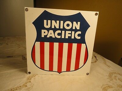 Older UNION PACIFIC  Advertising Sign (8.5 X 8.5 In.) Ande Rooney Porcelain