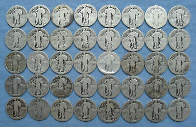 40 Standing Liberty Quarters 90% Silver Dateless ($10 face 1 roll no date)
