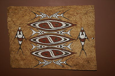Tapa Kapa Lake Sentani Barkcloth Symbolic Authentic Abstract Tribal Painting 43-