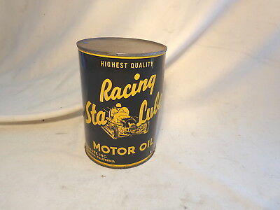 Sta Lube Racing Motor Oil Can / Full Quart / Vintage