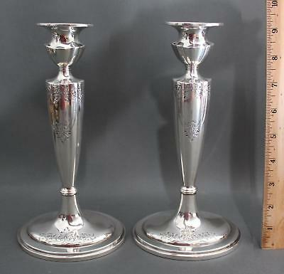Pair Antique 1913 Gorham Sterling Silver, Engraved Candlesticks, No Reserve