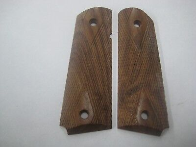 1911 Government Model Solid Walnut Wood Checkered Diamond Pistol Grips - New
