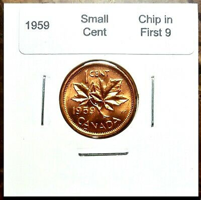 Canada 1959 UNC BU * Die Chip in First 9 * Variety Penny!!