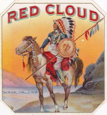 Red Cloud Heavily Embossed Stone Lithographed Outer Cigar Box Label Small Hole
