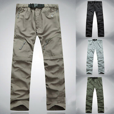 For Mens Quick Dry Convertible Zip Off Pants Fishing Hiking Cargo Trousers AP