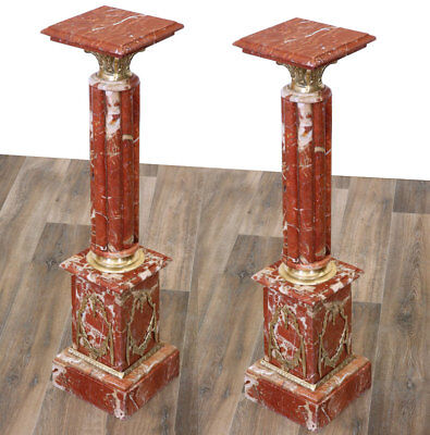 EMPIRE MARMORSÄULEN PAAR, je SÄULE ca.116cm CLASSICAL pair of red MARBLE COLUMNS