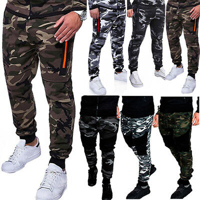 Mens Casual Camo Track Pants Combat Tactical Work Trousers Outdoor Sport Bottoms
