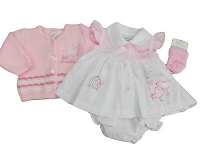 BNWT Tiny Premature Preemie Baby Girls tweet tweet dress cardigan and socks