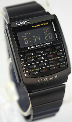 Casio Ca506b 1a Black Stainless Steel Calculator Watch Blackout Vintage New