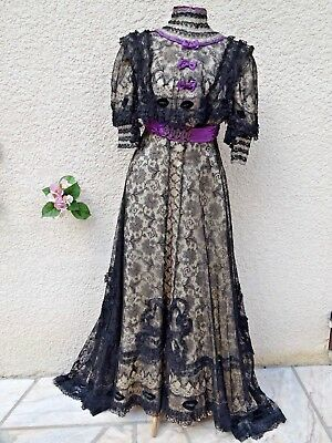 Rare Antique French Dress 19th Black Chantilly lace & Silk Edwardian Museum