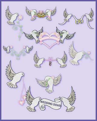 Wedding Doves 10  Machine Embroidery Designs Cd 3 Sizes