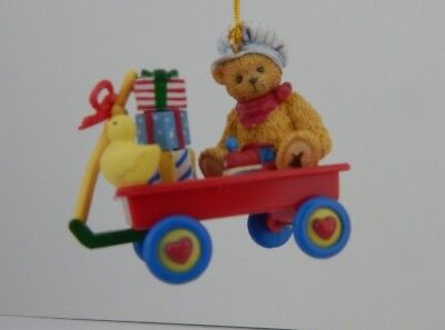 Enesco Cherished Teddies Bear in Wagon with Toys Ornament #401196 Great Ornament