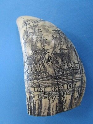 SCRIMSHAW RESIN REPLICA WHALE TOOTH  1813 Scrimshaw