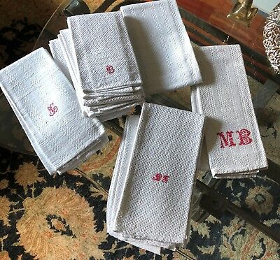 8 Antique French kitchen towels LINEN AND HEMP 1890 red monograms