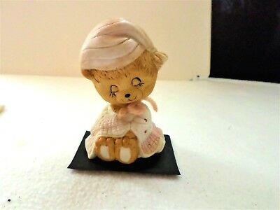 Little Pink Bisque / Porcelain Girl Bear Bobble Head / Nodder Marked JASCO