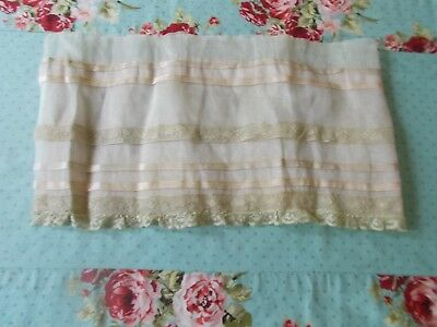 Lovely Antique Cotton Organdy & Lace Panel From Dress For Dolls