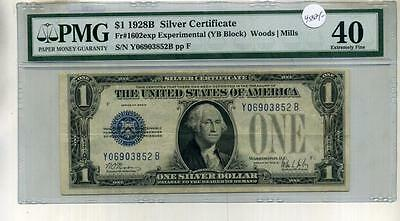 1928 B $1 Silver Certificate Experiment Currency Note Y-B Block Pmg Xf40