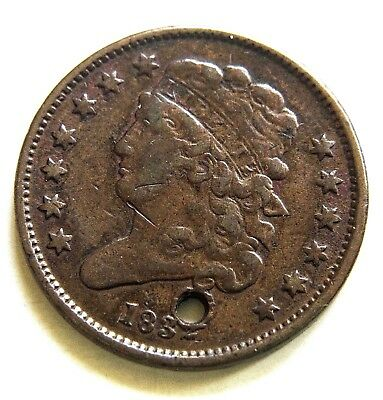 1832 Classic Head Half Cent/Fine/Punctured