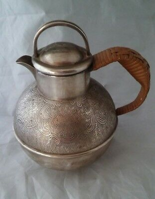 Vintage,  Epns.  Bulbus Engraved Hot Water / Chocolate Pot ? With Wicker Handle