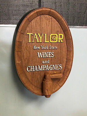 Vintage Taylor New York State Wines and Champagnes Barrel Wall Sign