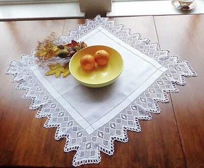 """Antique White Linen Tablecloth with Wide Handmade Crochet Lace 26"""" Centerpiece"""