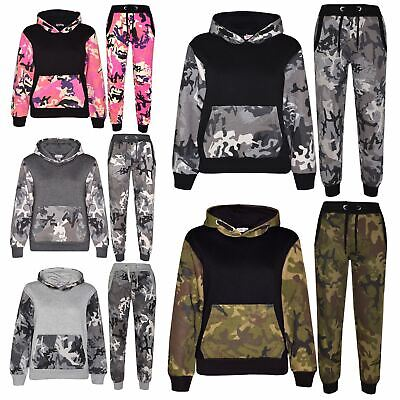 Kids Boys Girls Tracksuit Designer's Camouflage Contrast Top Bottom Jogging Suit